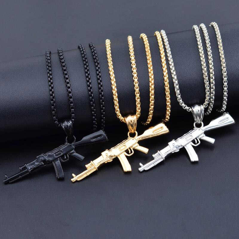 3 Color Steampunk Personalized AK47 Gun Big Pendant Necklaces Men Black Silver Gold Alloy Statement Necklace Hip Hop Jewelry