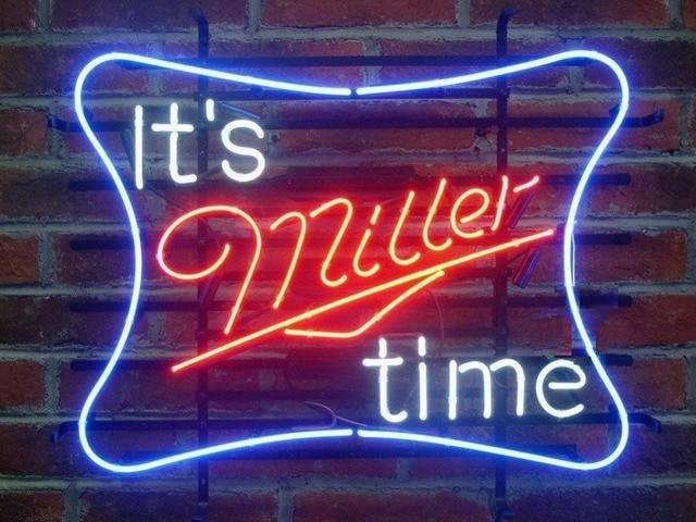 It's Miller Time Miller Neon Light Sign Beer Bar