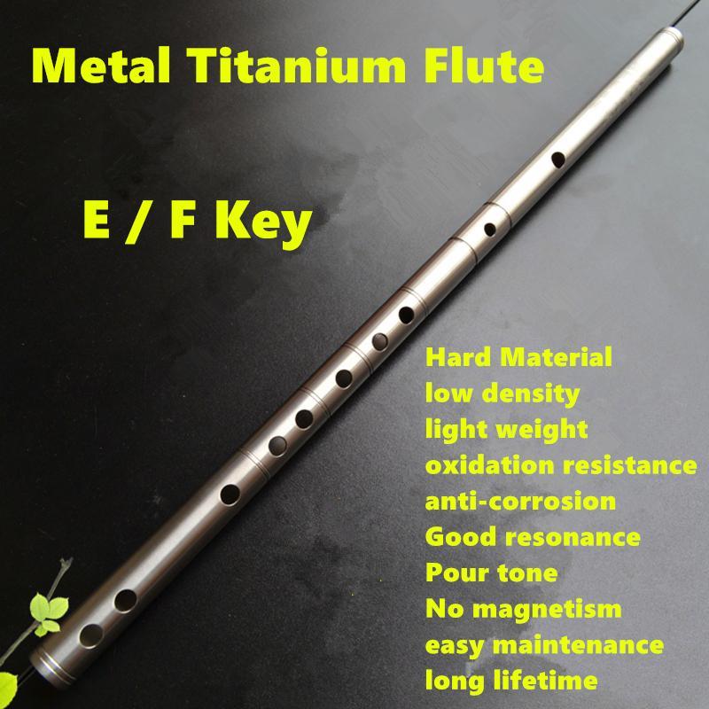 Flûte en métal titane Dizi E/F flûte de Concert clé en métal professionnel Flauta Instrument de musique Dizi auto-défense arme flûte en métal