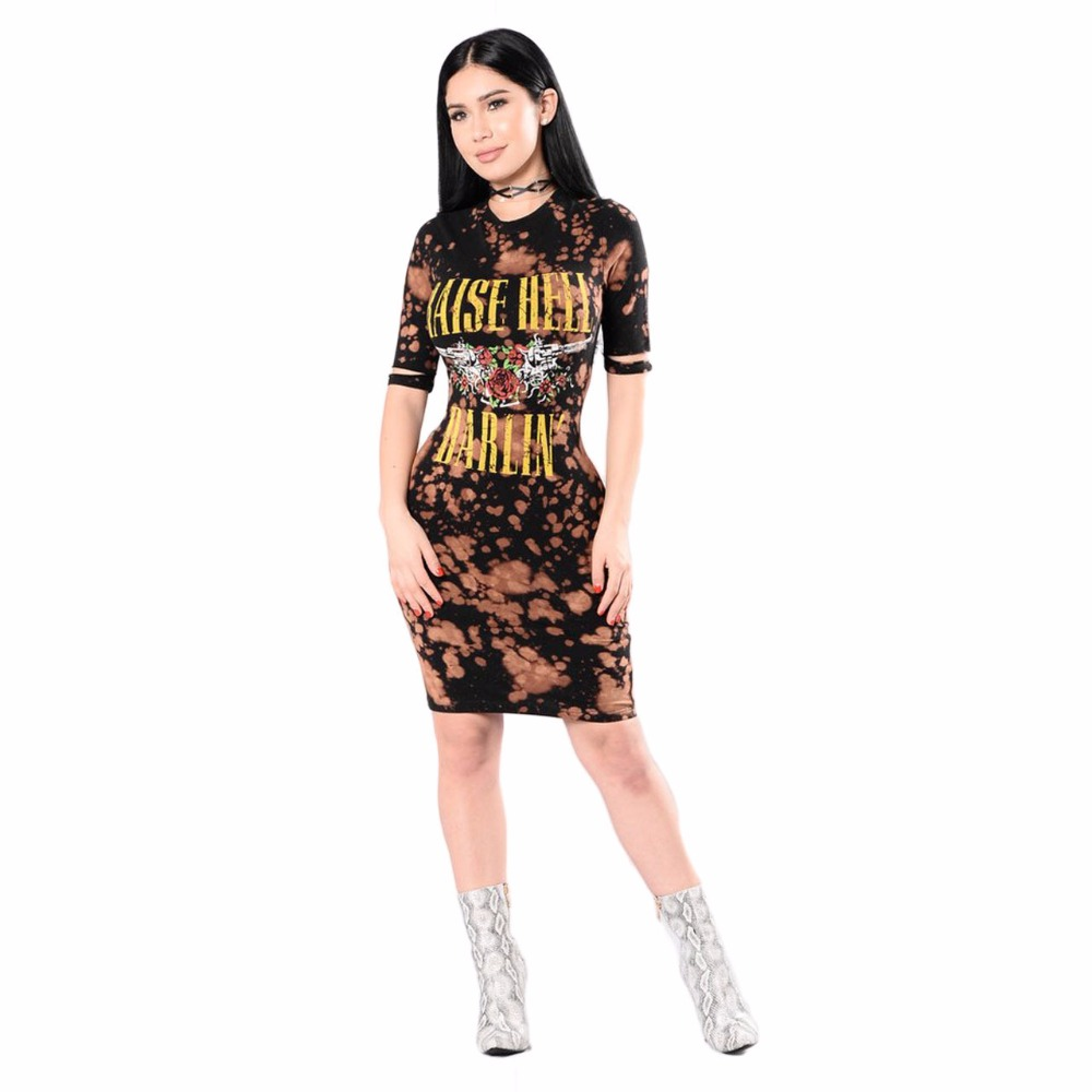 Summer Dresses American Rock Music Festival Rose and Guns Print Dress Fashion Casual Round Neck Short Sleeve Women Dresses