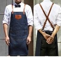 Kitchen Denim Apron Antifouling Clean Delantal Unisex Chef Work Pinafore Sleeveless Avental Leather Haircut Barber
