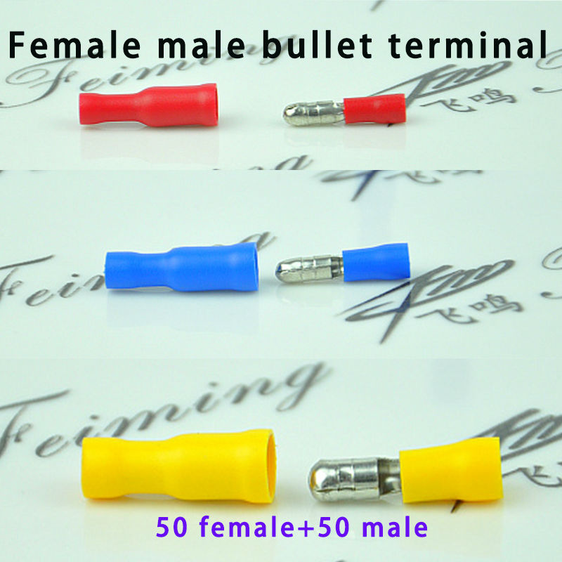 100PCS Fully Female Male insulated bullet terminals electrical crimp wire connector FRD MPD