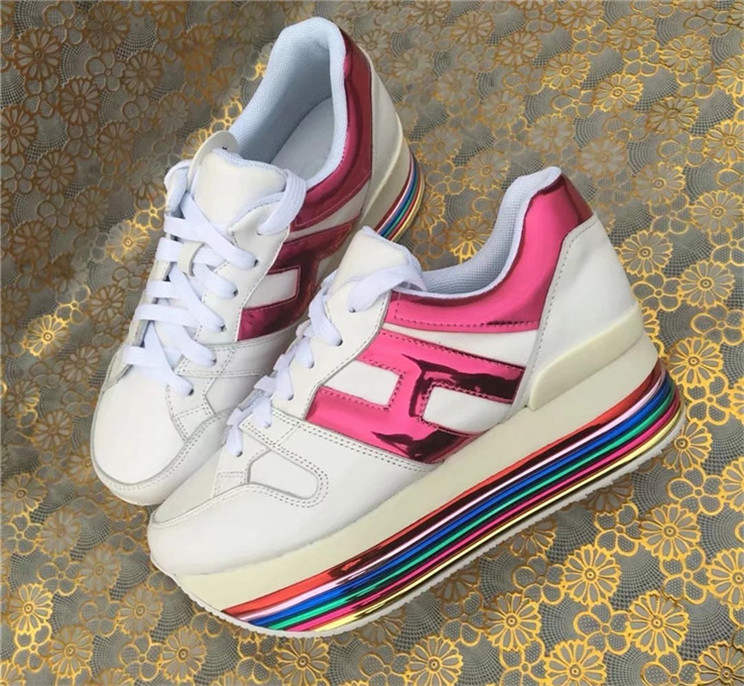 Rainbow Thick Heel Women Sneakers Genuine Leather Platform Woman Casual Shoes Thick Heel 6cm Lace-up Female Sport Tennis ShoesRainbow Thick Heel Women Sneakers Genuine Leather Platform Woman Casual Shoes Thick Heel 6cm Lace-up Female Sport Tennis Shoes
