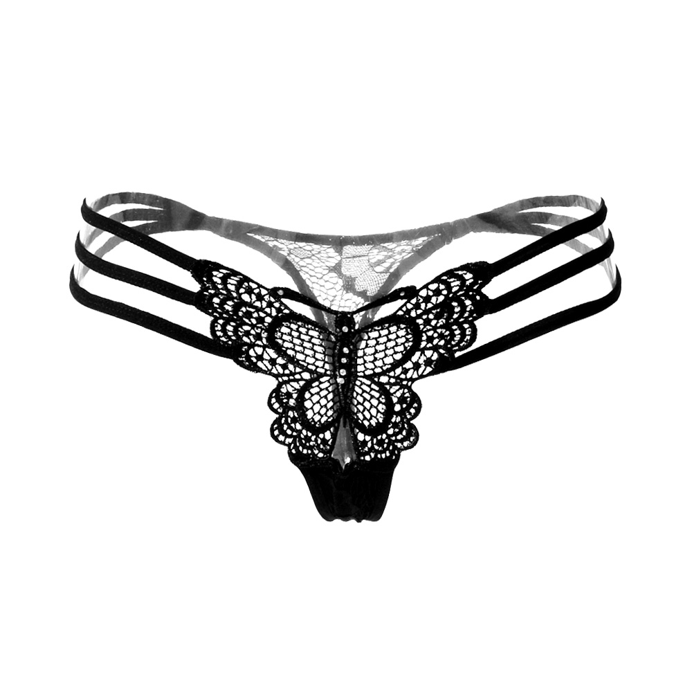 357037aea66 US $1.63 14% OFF|Women's Underwear sexy lace women panties transparent  briefs sexy Hollow G String Thong butterfly embroidery Panties lingerie-in  ...