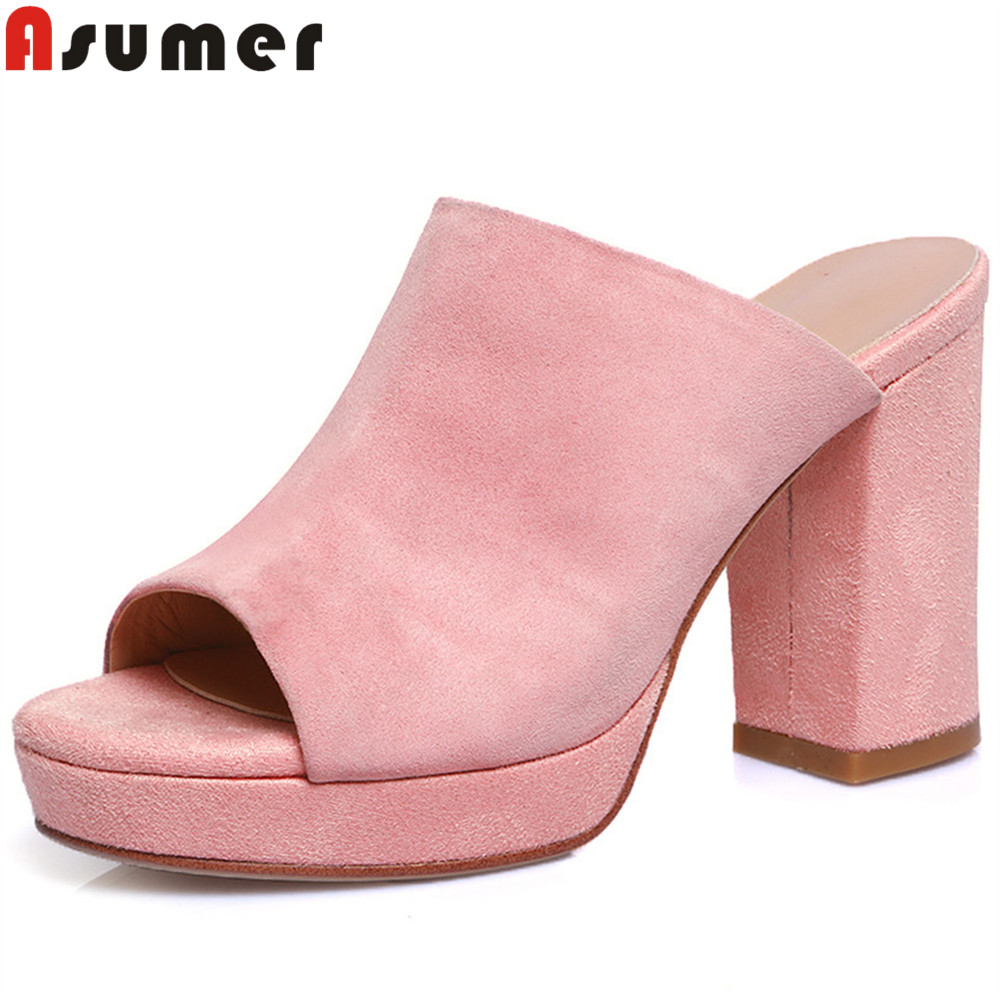 ASUMER black red fashion spring summer  new arrival shoes woman peep toe shallow elegant thick heel women suede leather sandals ASUMER black red fashion spring summer  new arrival shoes woman peep toe shallow elegant thick heel women suede leather sandals