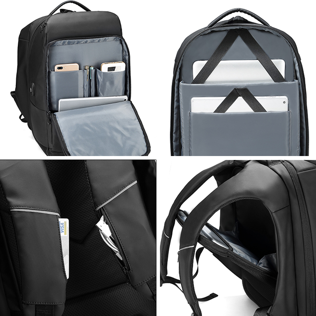 Men's Travel Backpack 17 Inch Water Repellent With USB Charging Port
