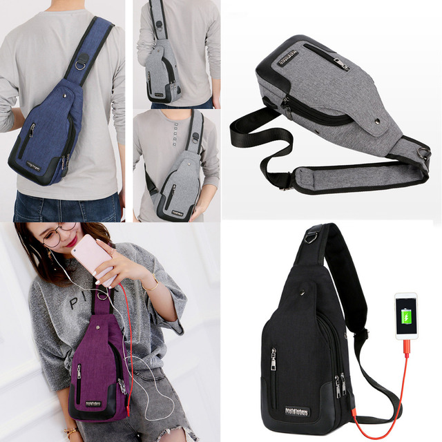 Us 14 65 Aliexpress Men S Usb Charging Chest Pack Anti Theft Travel Sport Messenger Shoulder Bag From Reliable Climbing Bags Suppliers On