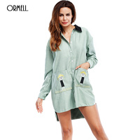 ORMELL 2017 Autumn Pockets Short Women Dress Fashion Cute Print Girls Long Sleeve Character Casual Loose