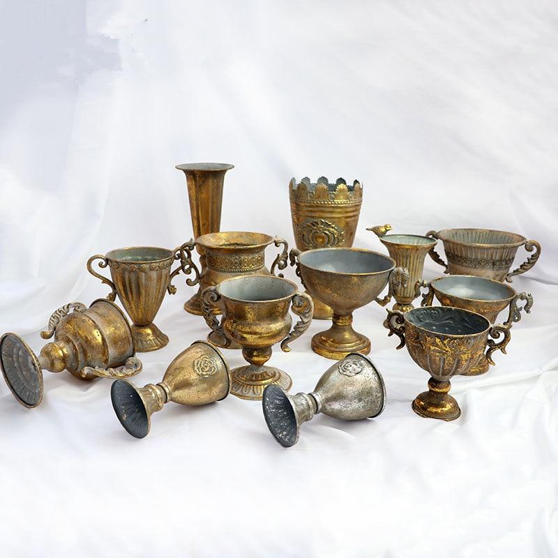 Golden Vase  Golden  Do Old Iorn Flower Pot Home Hotel Decorative Flower Pot Orchid Flower Pot