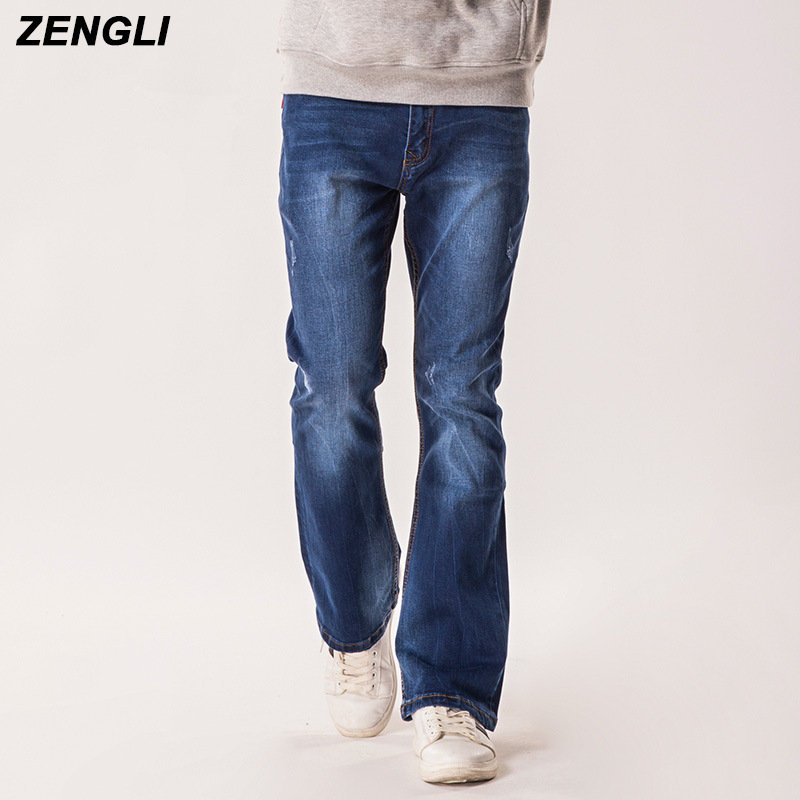 ZENGLI Brand Jeans Men Casual Denim Pants Long Trousers Boot Cut Leg Slightly Blue Black Male Jean Designer Classic Denim Jeans jeans men slim straight ripped jeans male hole jean pants casual denim trousers high quality all match long men s biker jean 54