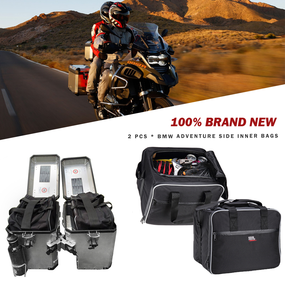 KEMiMOTO For BMW F1250GS ADV Motorcycle Bag Luggage Bags Black PVC Expandable Inner Bags For BMW R1200 GS WATER-COOLED 2013-2017