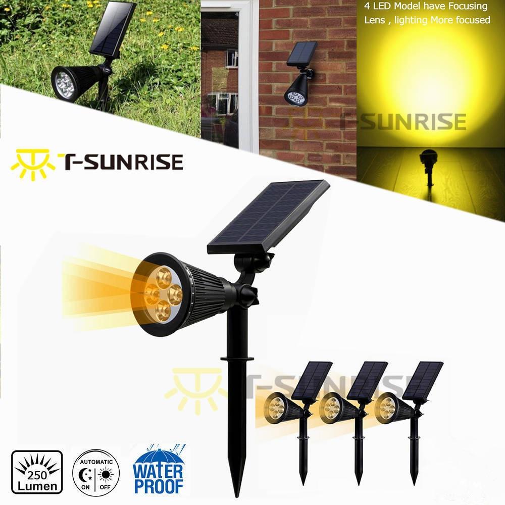 t sunrise 4 pack solar holofotes movido a energia solar lampada 4 ip65 a prova d