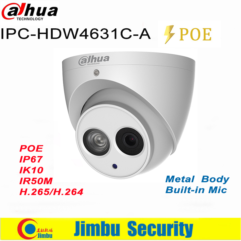 Dahua IP camera 6MP POE 4MP IPC-HDW4631C-A IPC-HDW4431C-A H.265 support Built-in MIC IR IP67 CCTV Dome security Camera dahua 4mp ip camera ipc hdw4433c a replace ipc hdw4431c a poe ir30m h 265 built in mic cctv dome camera multiple language