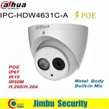 Dahua IP Камера 6MP POE 4MP IPC-HDW4631C-A IPC-HDW4431C-A H.265 Поддержка Встроенный микрофон ИК IP67 купола безопасности Камера