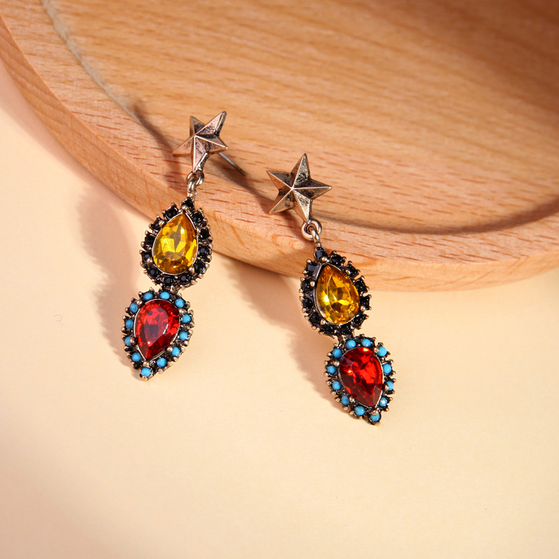 Ethnic Style Red /Champagne Water Drop Crystal Earrings For Women Simple Fashion Retro Alloy Star Statement Earring Jewelry