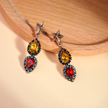 Ethnic Style Red /Champagne Water Drop Crystal Earrings For Women Simple Fashion Retro Alloy Star Drop Statement Earring Jewelry недорого