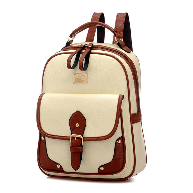 Women s College Wind Shoulder Bags School Bag PU Material Backpack England  Wind Leisure Travel Backpack 4cdc62198