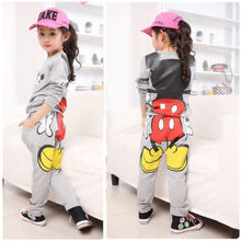 2016 New Cute Grey/Pink/Rose Red Lovely Baby Girls Kids Long Sleeve Minnie Tops Hoodies+Pants Sportwear Tracksuit Outfits 2-7Y