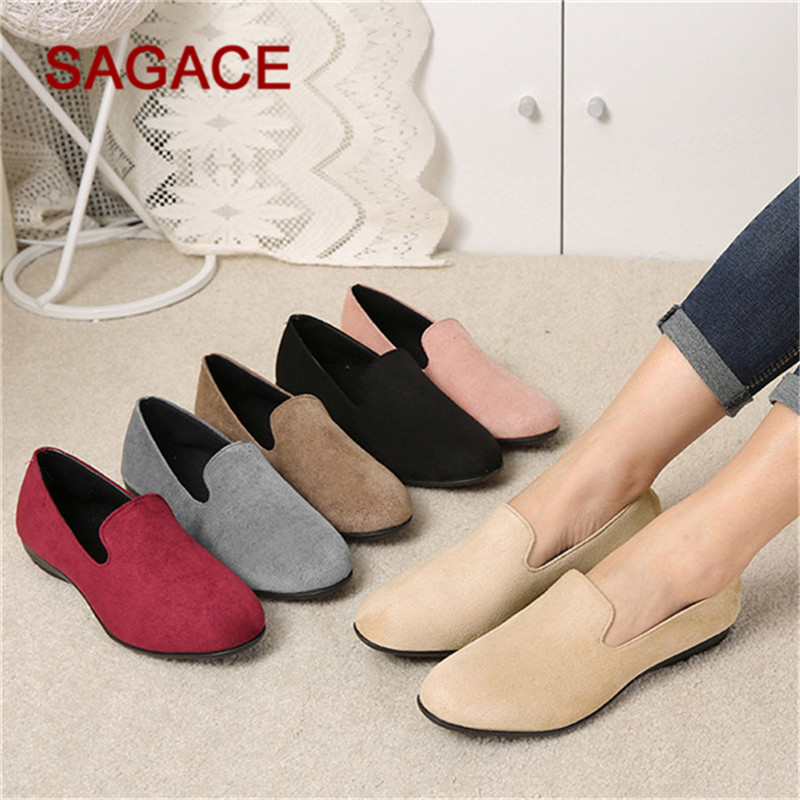 SAGACE Shoes Leisure Women Round Toe Casual Suede Slip-On Shoes Flat Single Shoes Peas Boat Shoes
