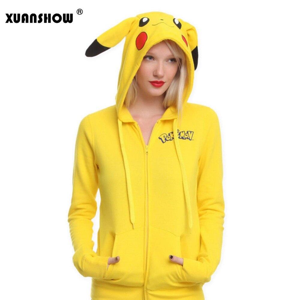 XUANSHOW Fashion Women Jacket Yellow Solid Pokemon Pikachu Printed Costume Tail Zip Totoro Hoodie Sweatshirt Sudaderas