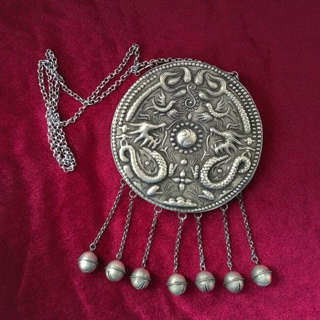 Guizhou ethnique vent collier fait à la main Miao argent rétro bijoux exagéré long Shuanglong chandail chaîne