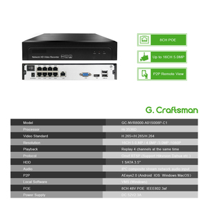 Image 2 - 8ch POE 5MP NVR H.265 NVR Network Video Recorder Up to 16ch 1 HDD 24/7 Recording IP Camera Onvif 2.6 P2P System G.Ccraftsman