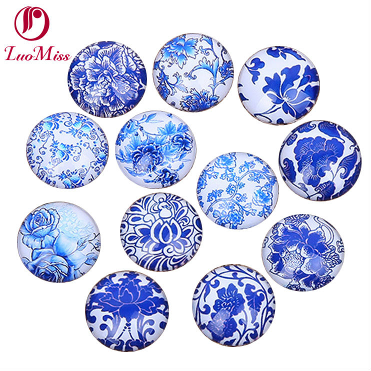 24pcs 14mm Blue Flowers And White Pattern Round Handmade Photo Glass Cabochons & Glass Dome Cover Diy Ornament Settings Be Shrewd In Money Matters
