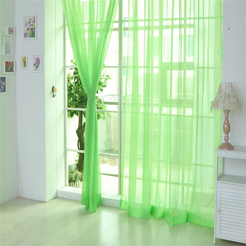 2018 ISHOWTIENDA New Fashion Hot Sale Rainbow Solid Voile Door Window Curtains Drape Panel Sheer Tulle For Home Decor