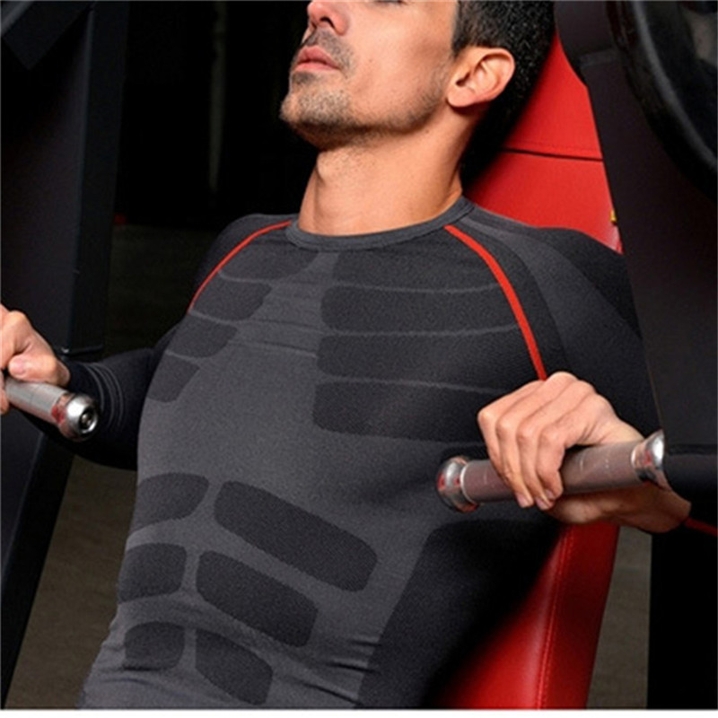 MEN T SHIRT QUICK DRYING FITNESS O-NECK LONG SLEEVE SPORT COMPRESSION TOP