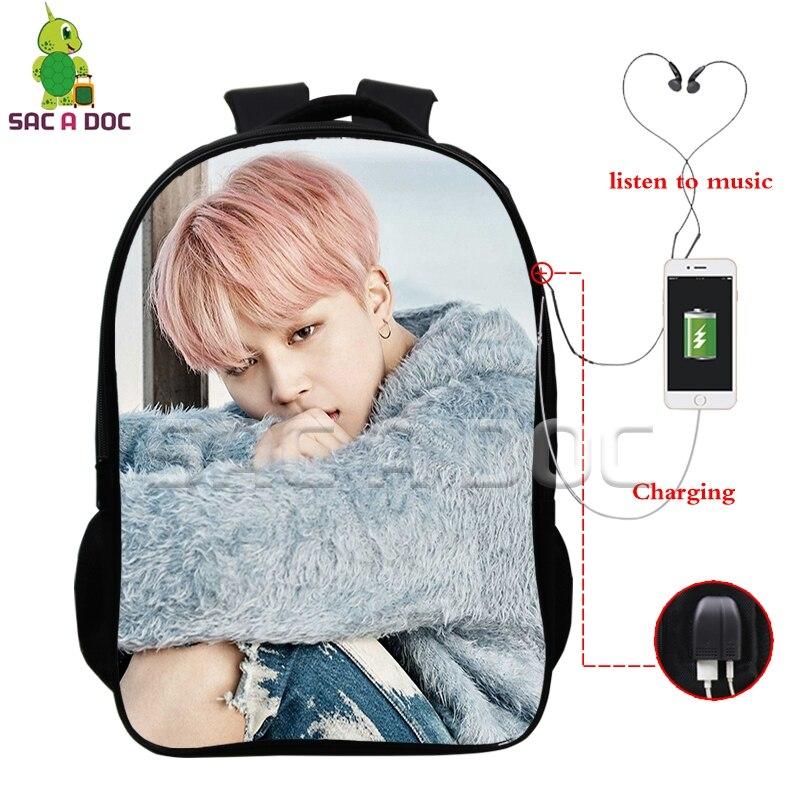 BTS Bangtan Boys Multifunction Backpack Kpop JIMIN V SUGA USB Charging Headphone Jack School Bags for Teens Fans Travel Bag