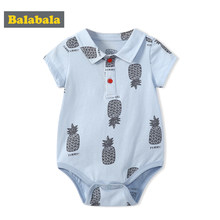 Balabala Infany Newborn Babys Print Short Sleeve Bodysuit with Turn-down Collar Baby Boys 100% Cotton Bodysuit Romper One-Piece(China)
