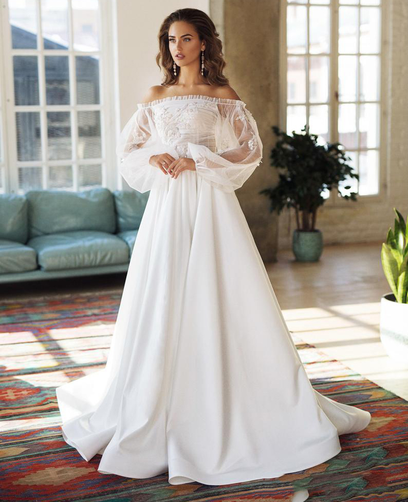 LORIE Boho Ivory Wedding Dress A-Line Bride Dress Appliques Off The Shoulder Puff Sleeves Wedding Gown Free Shipping 2019