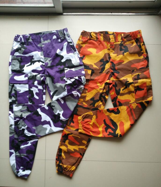 5d9e71b7d Orange Camouflage Pants Men and Women Sweatpants Purple Pink Gray Camo  Pants Trousers Cargo Pant Streetwear Hip Hop Harem Jogger