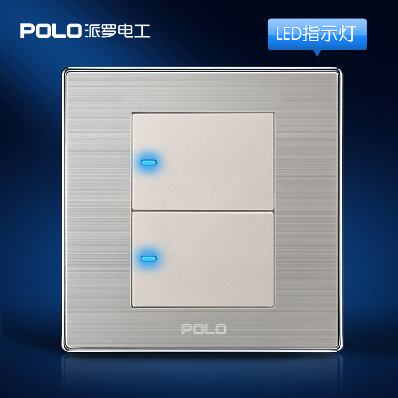 Wholesale POLO Luxury Wall Switch Panel, Light Switch,2 Gang 1 Way,Champagne/Black,Push Button LED Indicator,16A,110~250V, 220V