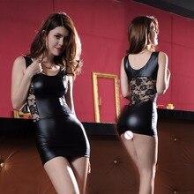 lace one piece leather dress mini wrap clubwear erotic underwear lenceria slim fetish sexy lingerie wetlook