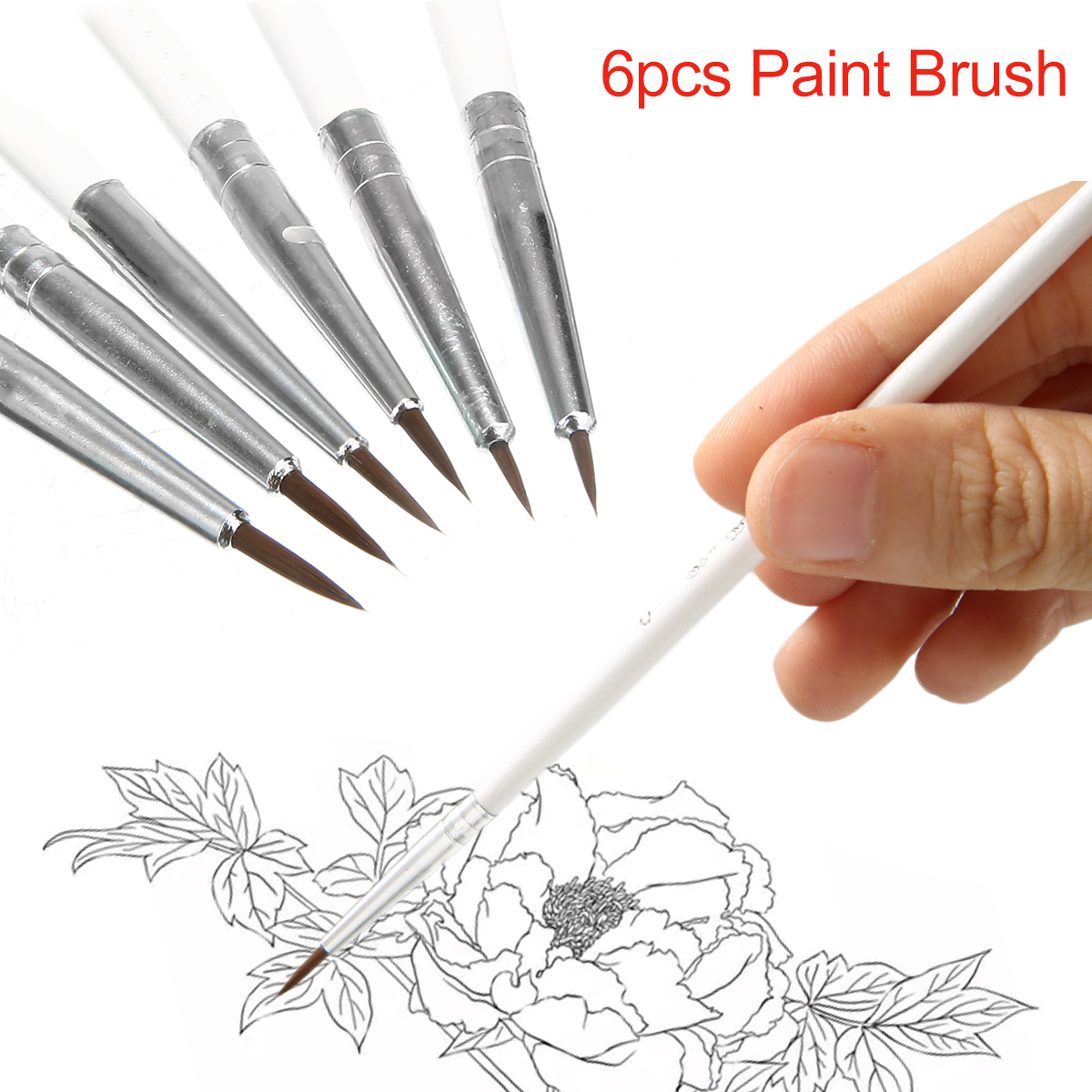 6pcs Artist Stationery Detail Paint Brush Set Fine Hand-painted Hook Line Pen Round Tip Watercolor Drawing Painting Brush Pen