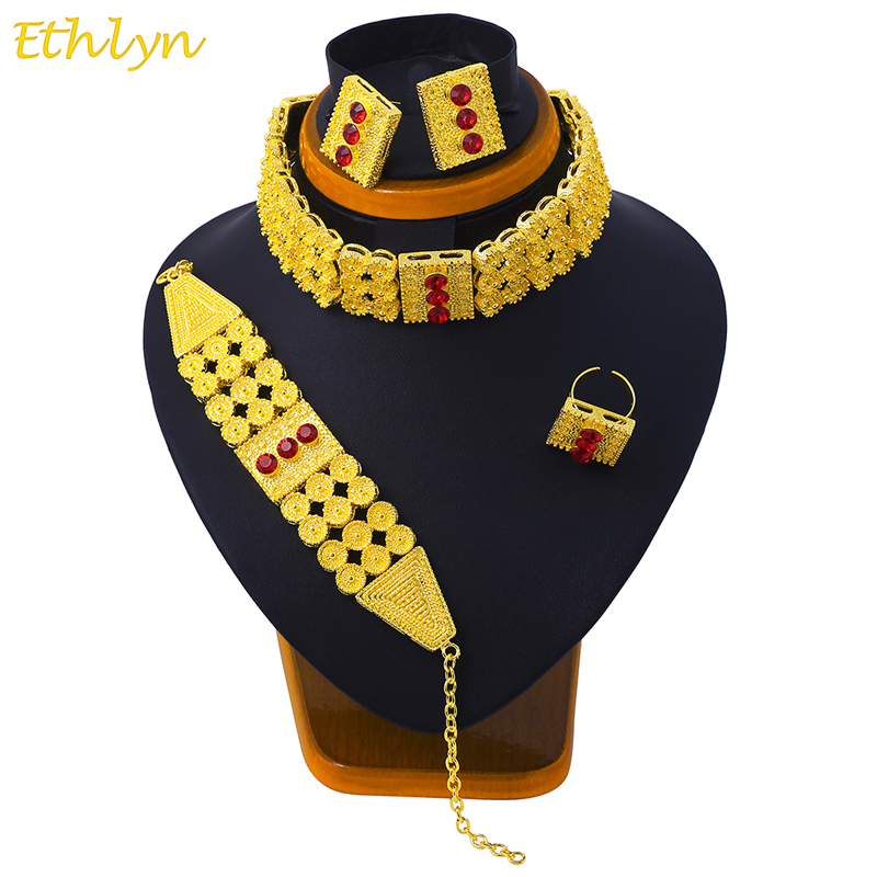 Ethlyn New Big Wide Ethiopian Eritrean Jewelry Choker Sets Gold Color Stone Jewelry Sets African Women Accessories S096