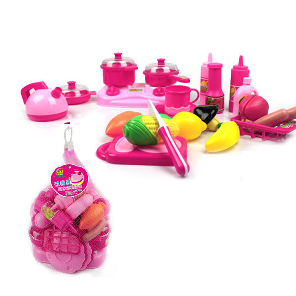 40pcs set Pink Toy Girl Kitchen Food Cooking Role Play Pretend Toys for Children Christmas Gift