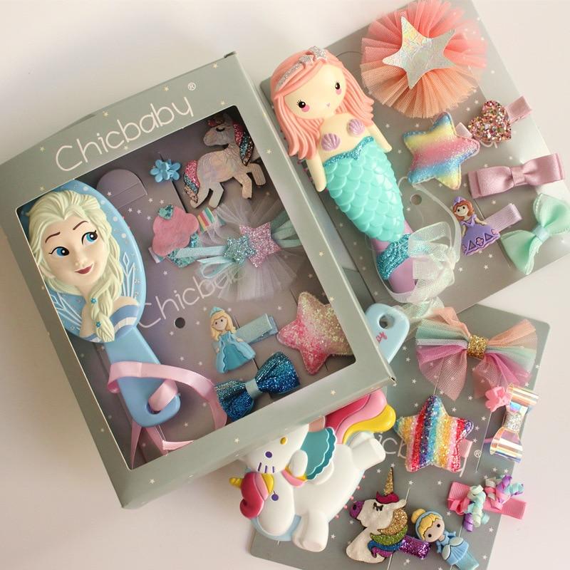 Hot Disney Pretend Play Frozen Comb Princess Anna Mermaid Anti-static Hair Care Brushes Baby Girls Dress Up Makeups Birthday