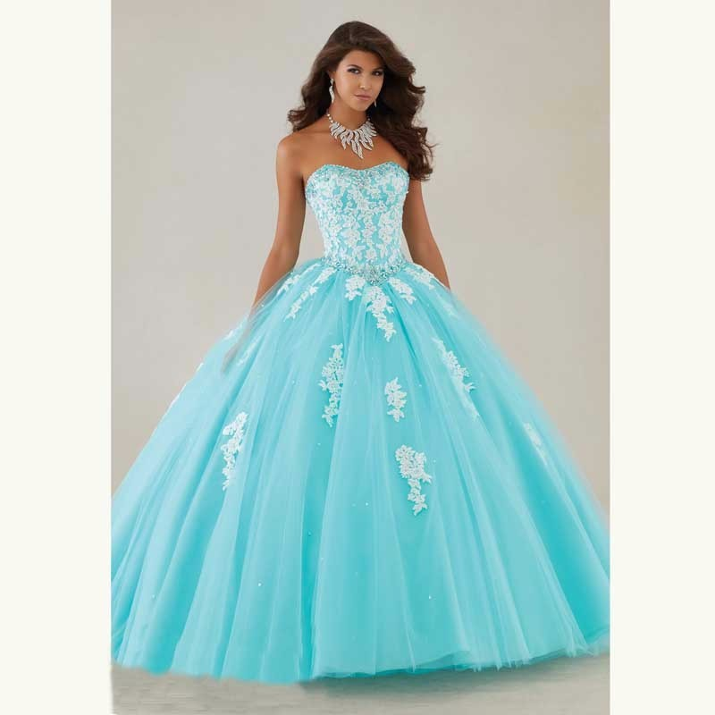Vestidos Ve 15 Anos Strapless Ball Gowns Tulle Full Crystals Lace Champagne Quinceanera Dresses 2016 New Arrival Cheap Vestidos1_conew1