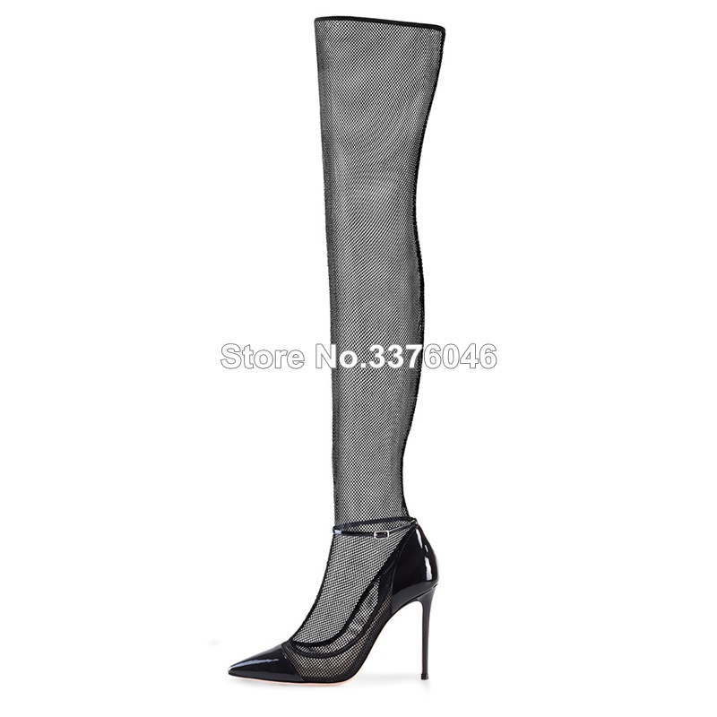 New Arrivals Black Lace Sexy High Heel Pumps Over The Knee Mesh Boots Summer Women Shoes Party Autumn Long Sock BootsNew Arrivals Black Lace Sexy High Heel Pumps Over The Knee Mesh Boots Summer Women Shoes Party Autumn Long Sock Boots