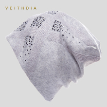 VEITHDIA Women's Hats Female Cashmere Casual Autumn Winter Brand New Double Layer Thick Knitted Girl Skullies Beanies Rhinestone