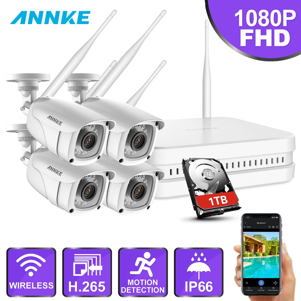 ANNKE 1080P HD 8CH Wireless WIFI NVR Kit Indoor Outdoor Cameras IR H.265 App Security Camera WIFI CCTV System Surveillance Kit annke nvr kit 4 cameras 1080p 4ch wireless wifi nvr ip network cctv security camera system surveillance kit ip66 indoor outdoor