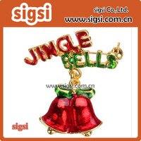 Vintage Ringing Bell Brooch Jingle Bell letter Brooch Christmas Pin Brooch Rhinestone Holly Leaves Jingle Bell lapel pin