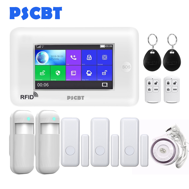 PSCBT All Touch Screen WIFI GSM Alarm Home Security Kit APP Control RFID LCD Voice Alert