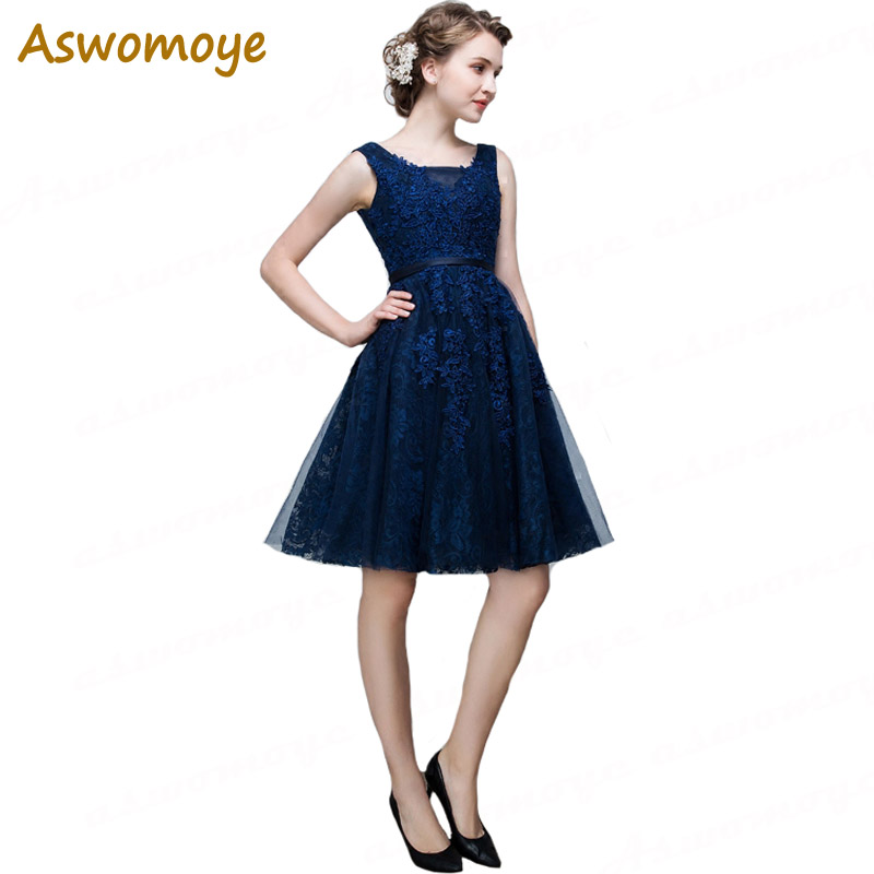 Aswomoye Short Evening Dresses 2018 A Line Prom Dress Birthday Party  Appliques Lace Formal Dress Vestido de festa Haute Couture-in Evening  Dresses from ... d64bbc4ad3ba