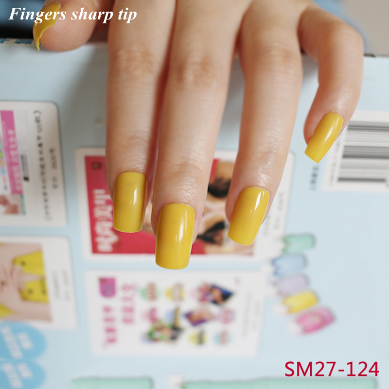 2017 24 Pcs Set Long False Nails Clic Fashion Yellow Acrylic Solid Color Nail Christmas Home Decorations Sm27 124 In From Beauty Health On