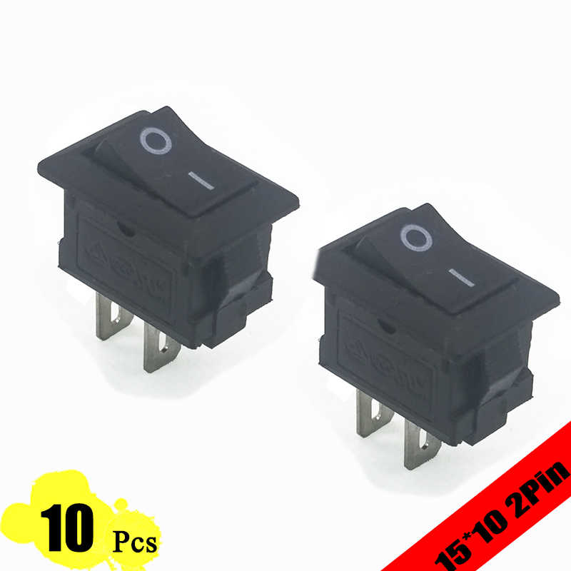 10 Pcs 15*10 Mm 2PIN Kcd11 G130 Rocker Switch SPST Snap-In On/OFF Switch Snap 3A/250V Mini Tembaga Kaki Mobil Dash Dashboard 10*15