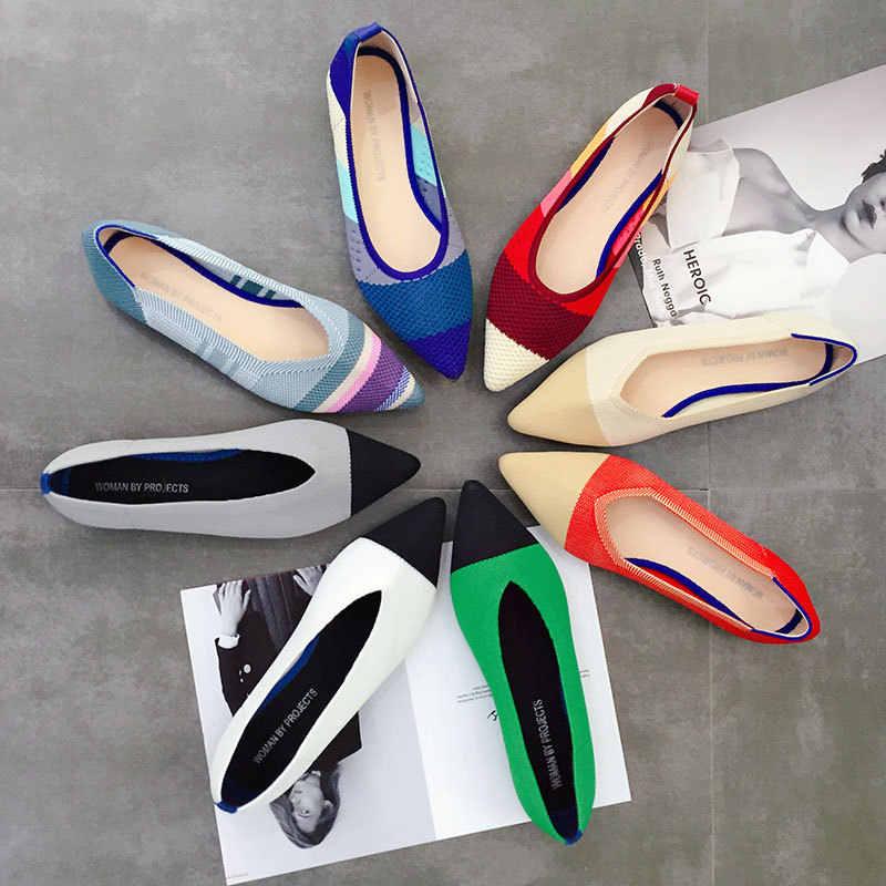 Mùa Xuân năm 2019 Mùa Hè Đế Phẳng Mũi Nhọn Trơn Trượt trên Ballet Flat Nông Thuyền Giày Người Phụ Nữ Giày Loafer Nữ Zapatos