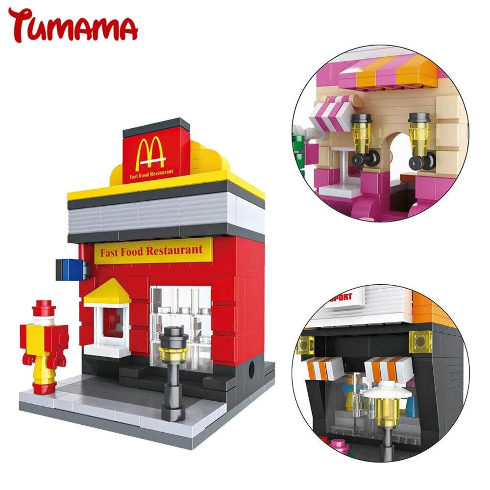 Tumama 8 Sets Mini Street Shop Model Building Blocks Fast Fos